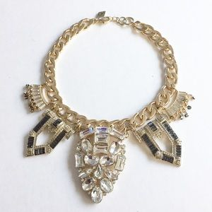 Gold Tone Crystal Statement Necklace